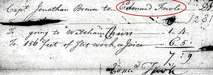 Edmund Fowle's invoice for going to Waltham for chairs and for work on joists